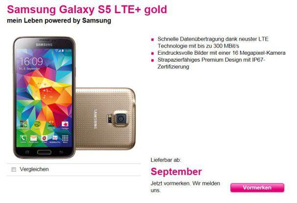 Bei der Telekom schon vorbestellbar: Samsung Galaxy S5 LTE+