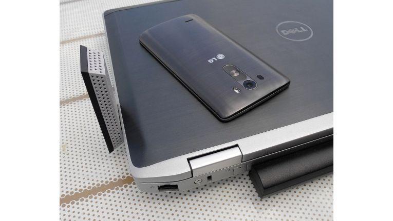 Testequipment: Das Android-Handy LG G3 hat WLAN-11ac und LTE-Cat4 ab Werk unter der Haube. Der Business-Laptop Dell Latitude E6520 unterstützt WLAN-11n, WLAN-11ac wurde durch einen Netgear-Surfstick nachgerüstet.