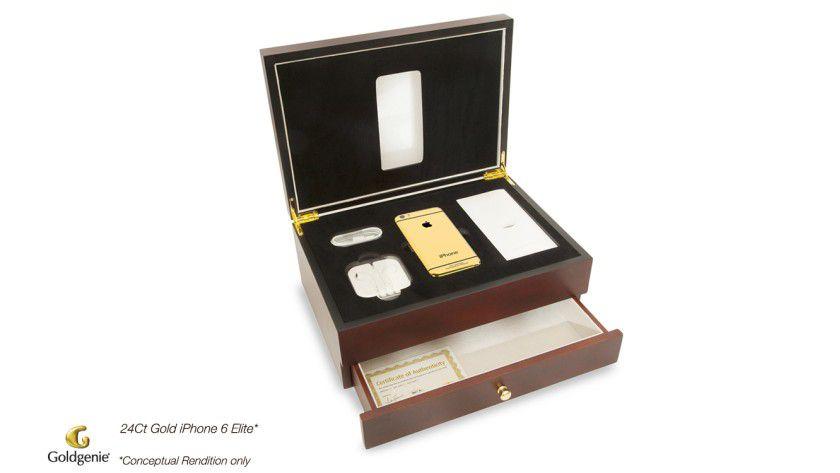 Edel in der Kirschholz-Kiste: Das iPhone 6 mit Gehäuse in Gold, Platin oder Rosengold.