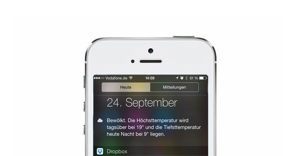 Mehr Infos in der Mitteilungszentrale: Apps mit iOS 8 Widgets für das iPhone und iPad - Foto: Apple