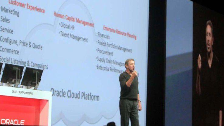 Ellisons erläutert auf der OpenWorld 2014 Oracles Cloud-Fahrplan.
