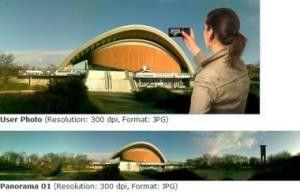 Eine von Bit-Side entwickelte Software setzt mehrere Schnappschüsse eines Foto-Handys zu 360-Grad-Bildern zusammen.