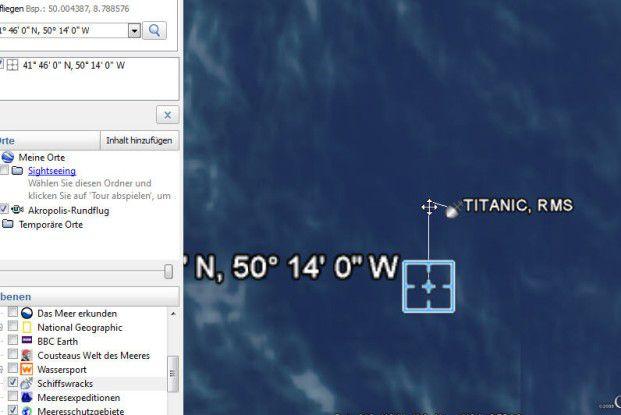 Hier sehen Sie den Ort, an dem die Titanic verunglückte.