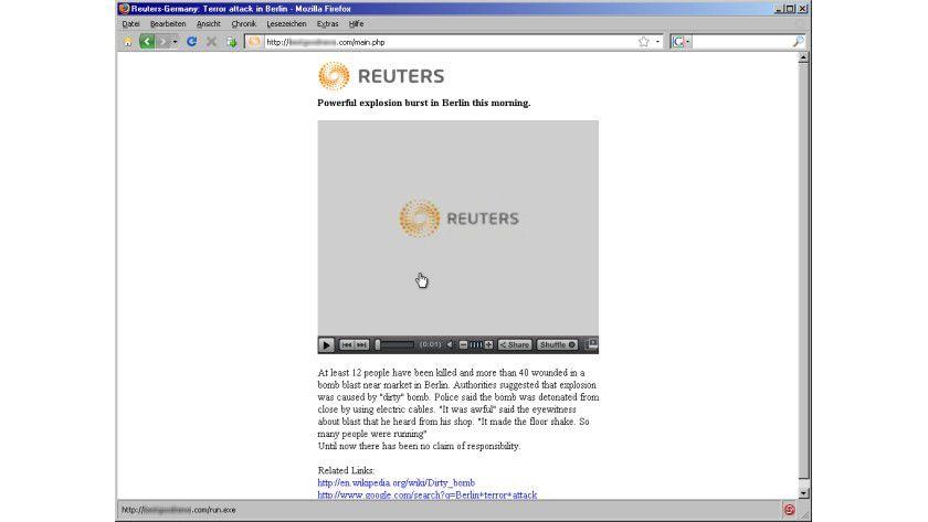 Gefälscht: Der Virus lockt mit Videos und Codec-Downloads.