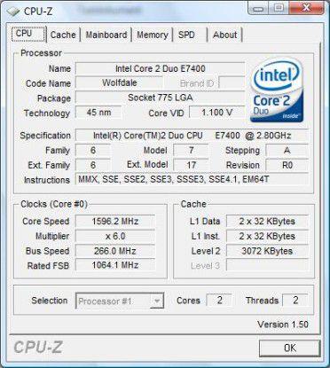 Recht flotter Zweikern-Prozessor: Intel Core 2 Duo E7400