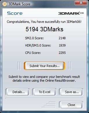 Das Ergebnis im Benchmark 3D Mark 06