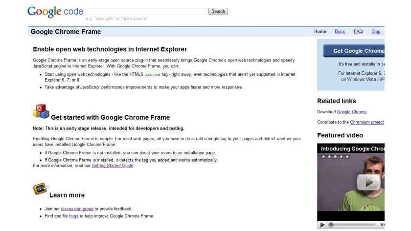 Google Chrome Frame: Microsoft reagiert auf Googles IE-Turbo-Plugin.