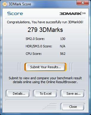 Medion Akoya E1011: Ergebnis unter 3D Mark 06