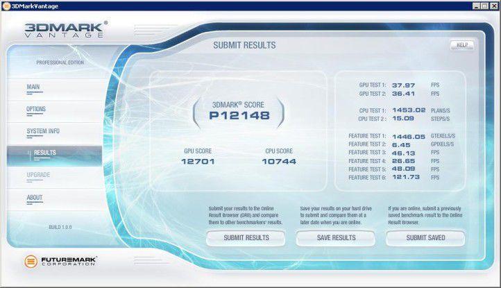 3D Mark Vantage: Ein gutes Ergebnis erreichte die HIS Radeon HD 5850 im Performance-Modus