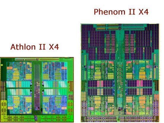 Größenvergleich der Siliziumplättchen des Athlon II X4 (links) und des Phenom II X4