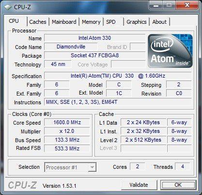 Arlt Mediabox 7 Intel Atom N330: CPU