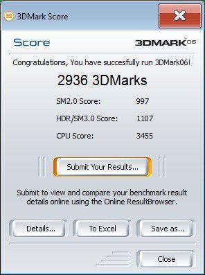 Acer Aspire Z5610: Ergebnis unter 3D Mark 06