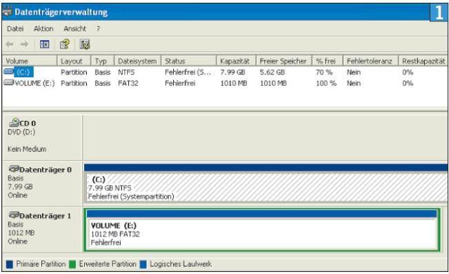 Datenträgerverwaltung unter XP: Dieses System umfasst zwei Festplatten mit je einer Partition