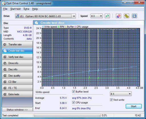 Arlt Home Mediabox 7 Intel Atom N330: DVD-Brenngeschwindigkeit