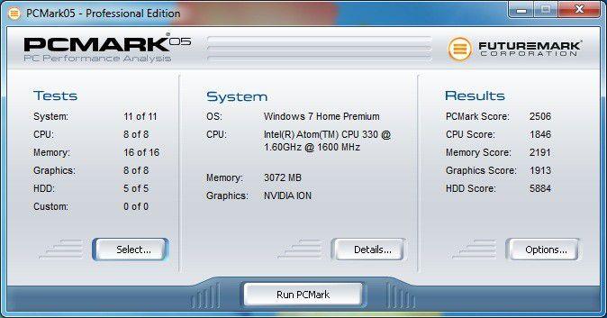 Arlt Home Mediabox 7 Intel Atom N330: PC Mark 05 Ergebnis