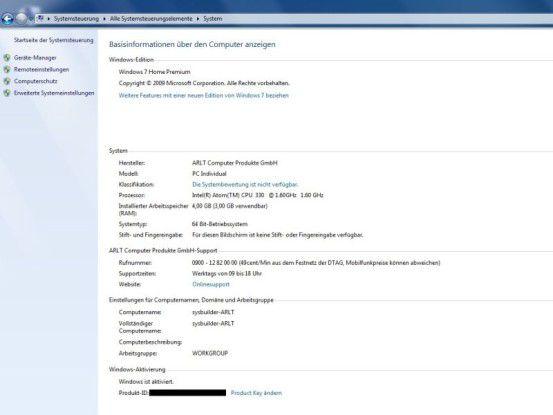 Arlt Home Mediabox 7 Intel Atom N330: Systeminformationen