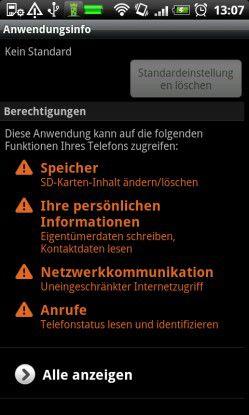 Berechtigungen bei Android