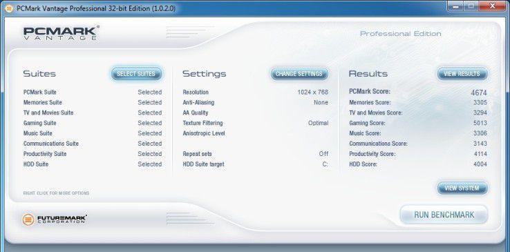 Kiebel KCShome premium quad: Ergebnis unter PC Mark Vantage