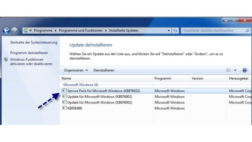 Rückgängig: Das SP1 lässt sich in Windows 7 und Windows Server 2008 R2 einfach deinstallieren.