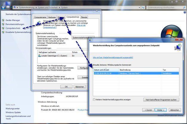 Alles auf Anfang: Zurücksetzen des Systemwiederherstellungspunktes in Windows 7.