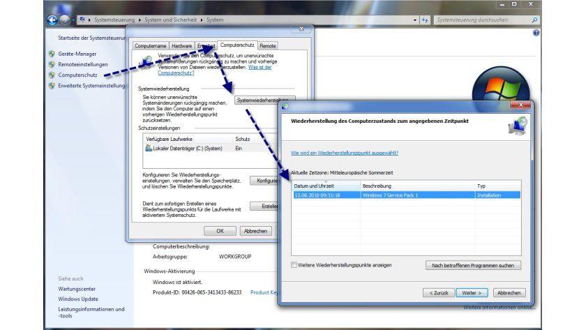 Alles auf Anfang: Systemwiederherstellungspunkt in Windows 7 zurücksetzen.