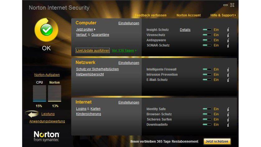 Übersichtlich: Die Verwaltungsoberfläche der Norton Internet Security 2010.