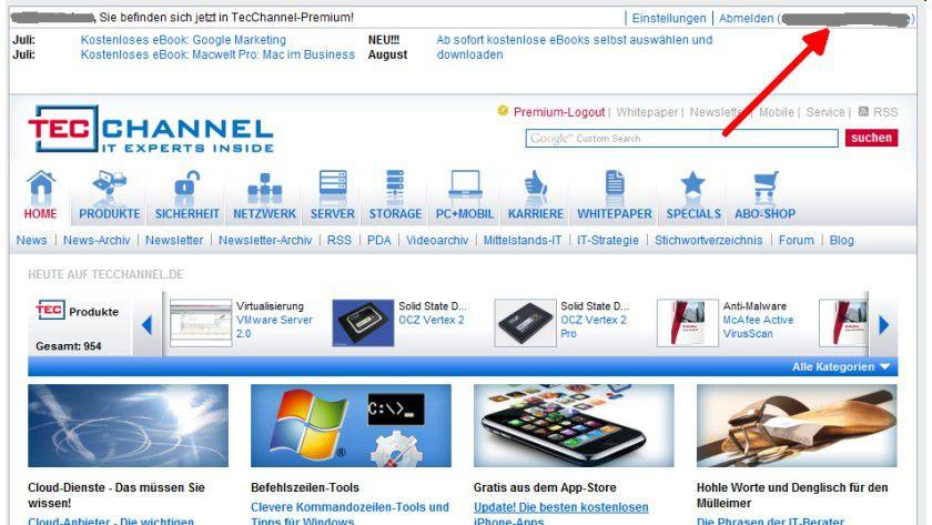 Gewusst wo: Die E-Mail-Adresse, mit der Sie bei TecChannel-Premium registriert sind, wird im Message-Board oben rechts angezeigt..