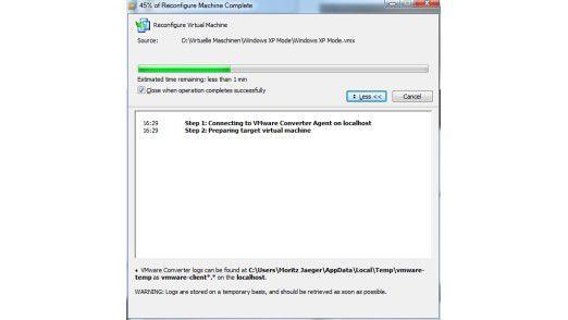 Konverter: VMware kann den XP Mode in das eigene Format umwandeln.