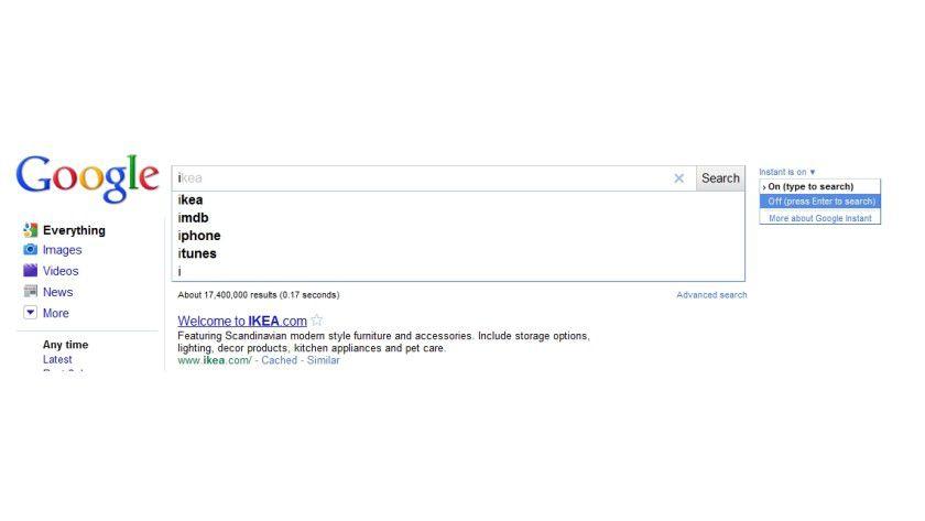Abschalten: Google Instant lässt sich auf Wunsch entfernen.