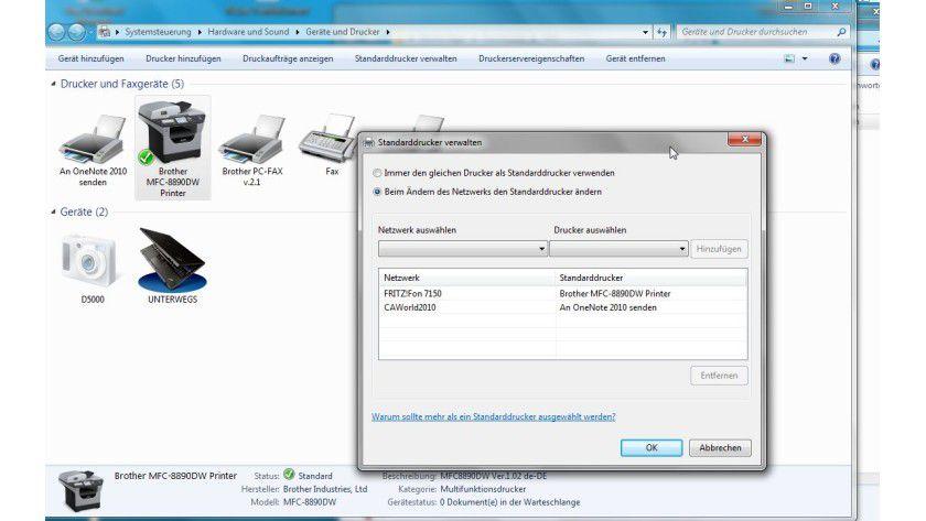 Automatische Auswahl: Das Location Aware Printing Feature kann Drucker je nach dem aktuellen Netzwerk auswählen.