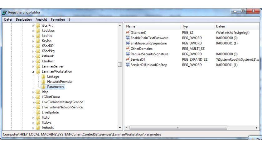 Samba-Erweiterung: Dieser Registry-Eintrag muss erweitert werden.