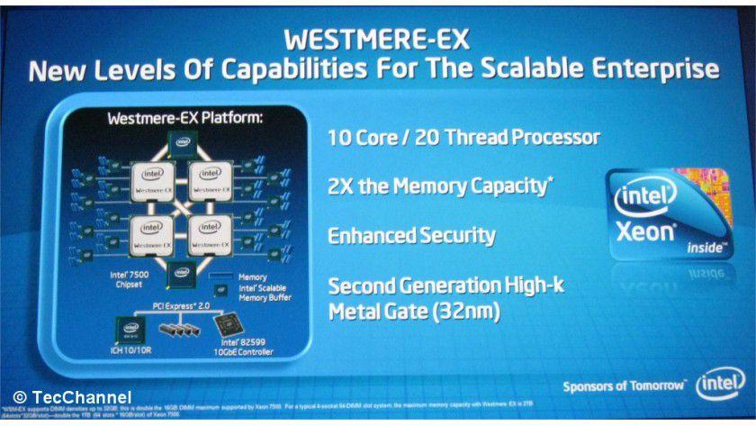 Zehnkerner: Intels Westmere-EX ist der Nachfolger der aktuellen Xeon-7500-Prozessoren. Die Kernanzahl steigt von acht auf zehn.