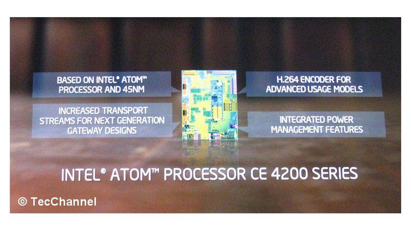 Intel Atom CE4200: Internetfähige TVs und Settop-Boxen sind das Haupteinsatzgebiet des Media-Prozessors.