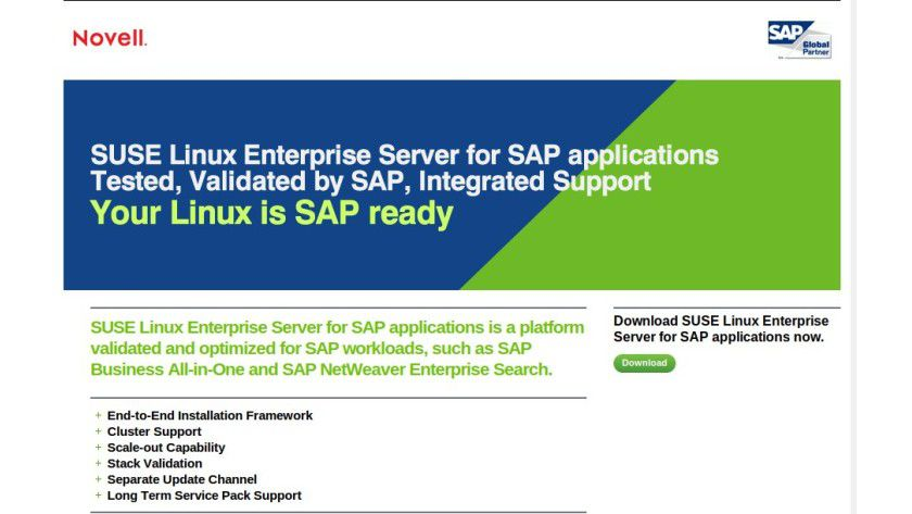 Novell: SUSE Linux Enterprise Server für SAP