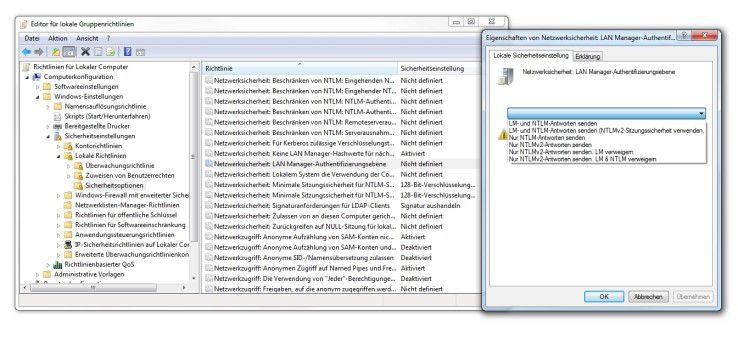Verbindung in die Vergangenheit: Um die Verbindung mit einem Windows 2000 Server herzustellen, müssen diese Einstellungen geändert werden.