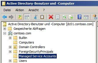 Sichtbarkeit: Die verwalteten Dienstkonten lassen sich in Windows Server 2008 R2 anzeigen.