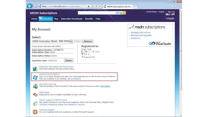 Enthaltenes Kontingent: Aktivierung eines Azure-Accounts über eine MSDN-Subscription.