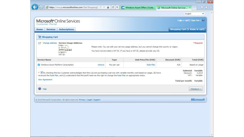 Abrechnung: der Warenkorb im Microsoft-Online-Services-Business-Portal.