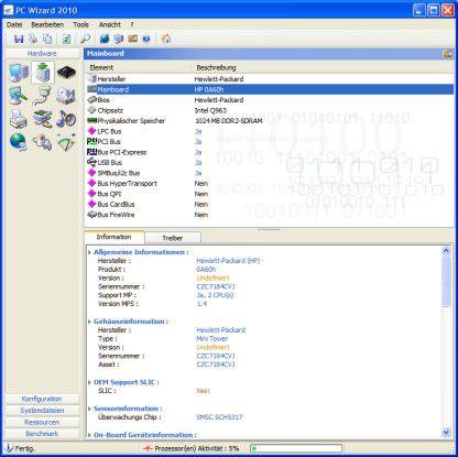 PC Wizard: Er informiert den Anwender über die installierten Systemkomponenten.
