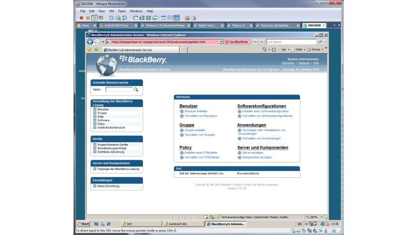 Smartphone-Verwaltung: das Web-Interface des BES Express