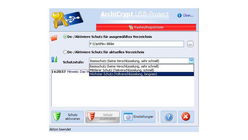 ArchiCrypt USB-Protect: Mit dem Tool lassen sich alle Arten von Laufwerken und Verzeichnisse komfortabel ver- und entschlüsseln.
