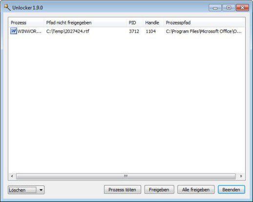 Löschen trotz Sperre: Mit der Freeware Unlocker lassen sich von Anwendungen oder Systemprozessen gesperrte Dateien trotzdem löschen.