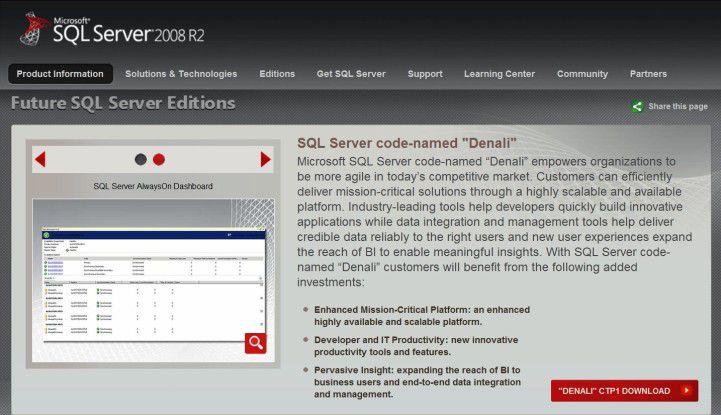 Codename Denali: Die nächste Generation des SQL-Servers von Microsoft steht als Community Technology Preview 1 parat. (Quelle: Microsoft)