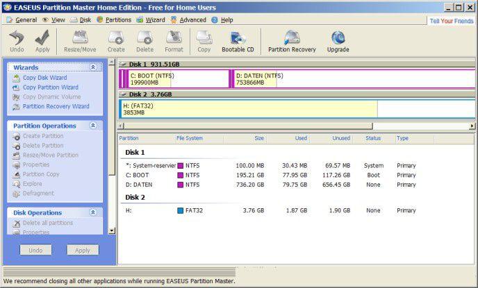 Easeus Partition Manager: Das Gratis-Tool kann Partitionen erzeugen und löschen, zusammenfügen und trennen, verschieben, kopieren, formatieren sowie ihre Größe anpassen.