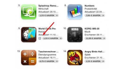 Detailsuche: Gerade einmal ein kleines Plus markiert die Universal-Apps in iTunes.