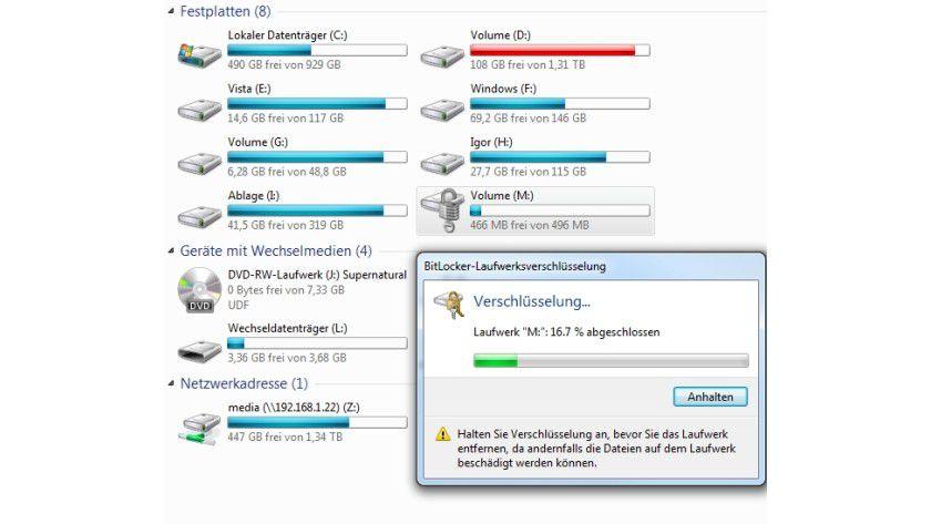 Verschlüsselung mit Bordmitteln: BitLocker funktioniert auch mit VHD-Festplatten.