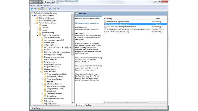Browsing beschränken: Über die Gruppenrichtline lässt sich die InPrivate-Browsing-Funktion auf Wunsch systemweit abschalten.