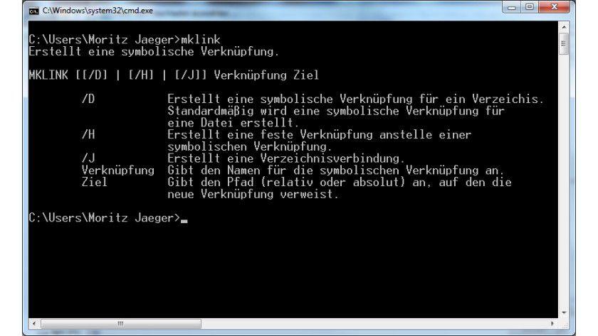 Symlink erstellen: Unter Windows klappt das mit dem Kommandozeilenbefehl mklink.