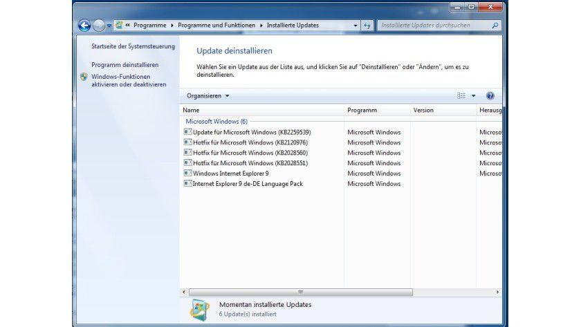 Versteckt: Die Beta des IE9 wird über die Update-Funktion deinstalliert.