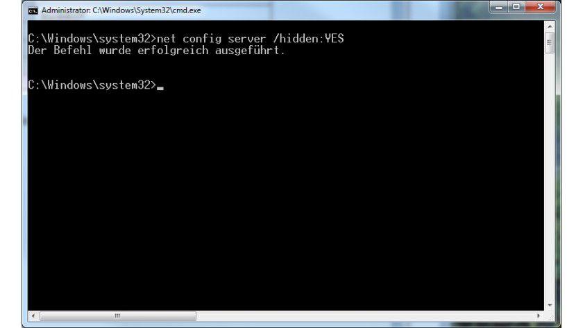 Versteckte Rechner: Der entsprechende Befehl verbirgt Windows-PCs vor neugierigen Augen.